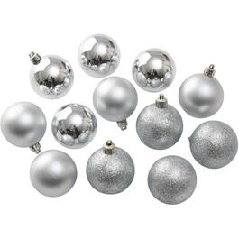 12 Pack 60mm Plastic Silver Ornaments thumb