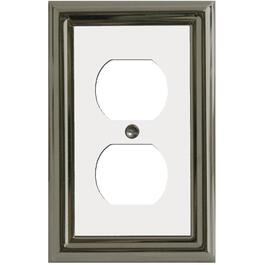Estate Nickel with White Center Duplex Metal Receptacle Plate thumb