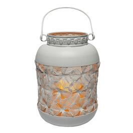 "7.5"" White Metal Lantern, with Battery Operated LED Candle thumb"