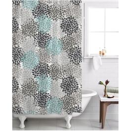 "70"" x 72"" Charlotte Blue Polyester Shower Curtain thumb"