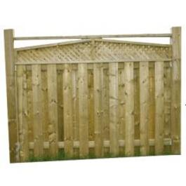 5' Spruce Surfaced Four Sides Angled Top Lattice Fence Package thumb