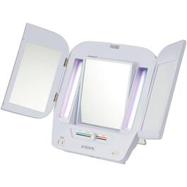 1x+5x Tri-Fold Table Top Lighted Makeup Mirror thumb