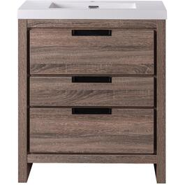 "36"" x 19"" Davenport Barnwood 3 Drawer Vanity with Cultured Marble Top thumb"