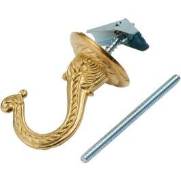 "2-1/4"" Brass Plated Swag Ceiling Hook thumb"