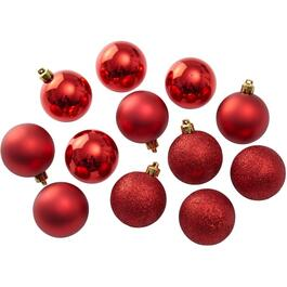 12 Pack 60mm Plastic Red Ornaments thumb