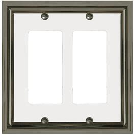 Estate Nickel with White Center Double Rocker Metal Switch Plate thumb