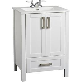 "30""W x 18.7""D x 33.5""H Clare White 2 Door/1Drawer Vanity thumb"