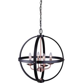 Sutton 4 Light Matte Black and Bronze Chandelier Light Fixture thumb