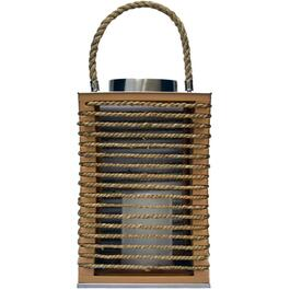 "10"" Beige Rope Lantern, with Battery Operated LED Candle thumb"