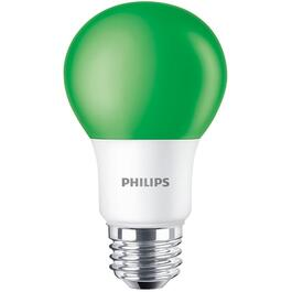 8W A19 Medium Base Non-Dimmable Green LED Light Bulb thumb