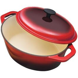 6 Quart Oval Red Cast Iron Dutch Oven, with Lid thumb