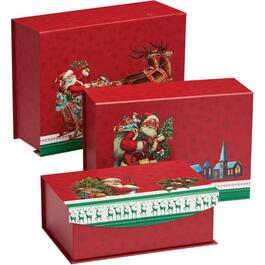 3 Pack Flip Top Nested Christmas Gift Boxes, Assorted Sizes thumb