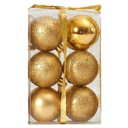 12 Pack 60mm Plastic Gold Ornaments, Assorted Finishes thumb