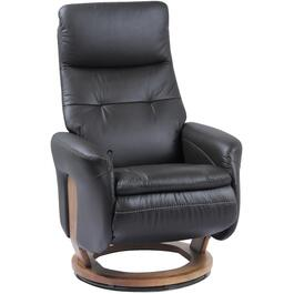 Black Leather Match Francesca Recliner, with Self-Storing Ottoman thumb