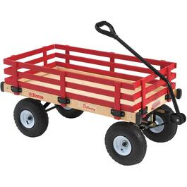 "20"" x 38"" Red Wooden Childrens Wagon, with Rails thumb"