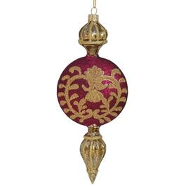 "8"" Glass Wine and Gold Flat Ornament thumb"