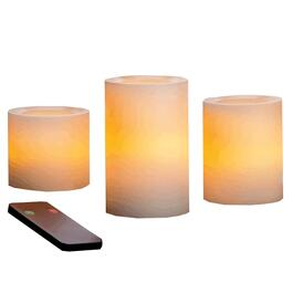 3 Pack Cream Battery-Operated LED Flameless Pillar Candles, with 5 Hour Timer thumb