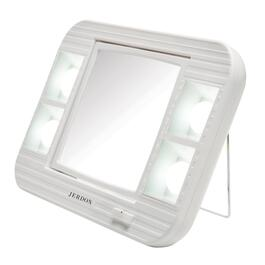 "1x+5x Rectangle 6.25""x6"" White Table Top Lighted Makeup Mirror thumb"