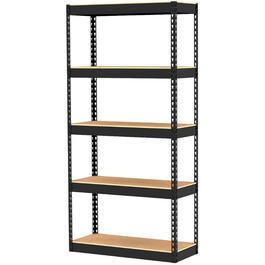 "14"" x 34"" x 72"" 5 Shelf Black Metal/Wood Shelving Unit thumb"