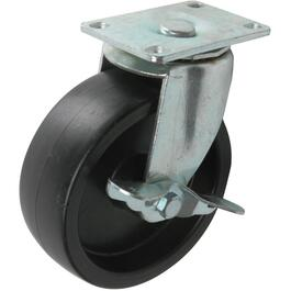 "5"" Rubber Swivel Plate Caster, with Side Brake thumb"