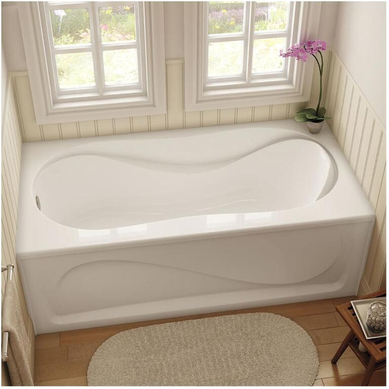 """maax 60"""" x 30"""" white cocoon left hand soaker bathtub with skirt"""