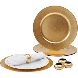 8 Piece Gold Charger Plate Set, with Napkin Rings thumb