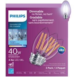 3 Pack 4.5W B11 Medium Base Daylight Dimmable LED Light Bulbs thumb