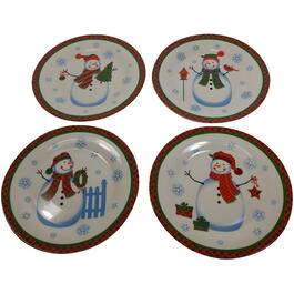 4 Piece Porcelain Snowman Plate Set thumb