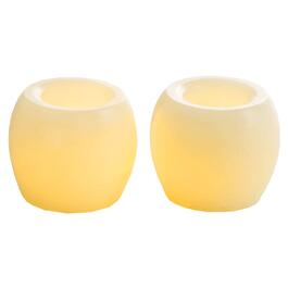 2 Pack Cream Battery-Operated LED Hurricane Votive Candles thumb