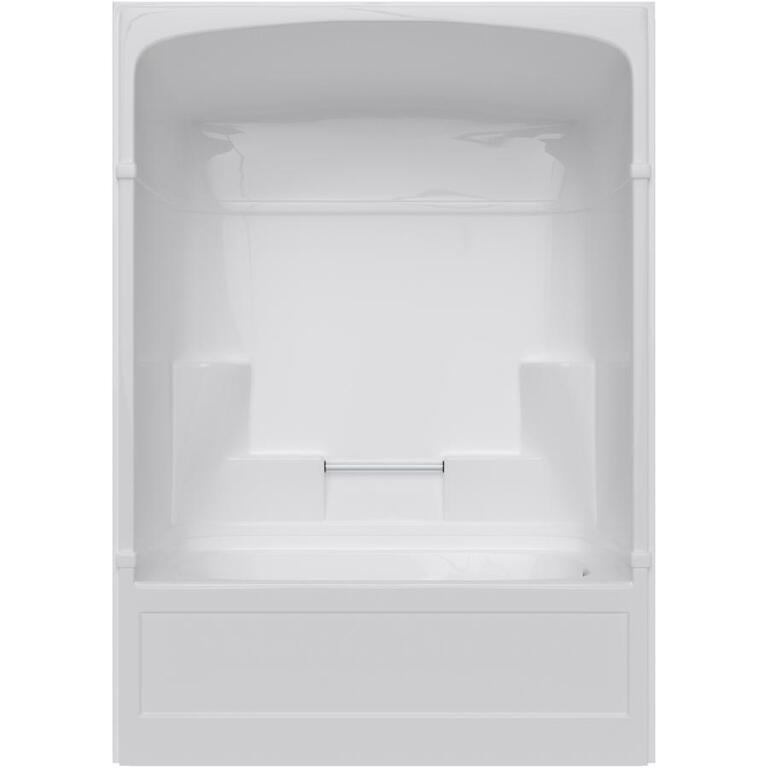 3 Piece White Acrylic Right Hand Tub and Shower, with Lumbar - Home ...