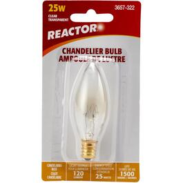 25W B8 Candelabra Base Clear Chandelier Light Bulb thumb