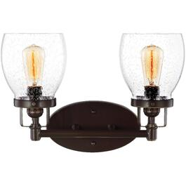 Belton 2 Light Heirloom Bronze Light Fixture with Seeded Glass Shades thumb
