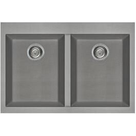 "20-7/8"" x 31-1/2"" Titanium Drop-In Double Granitek Kitchen Sink with Squared Corners thumb"