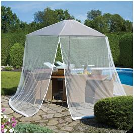White Permethrin Coated Mosquito Net, for Umbrella thumb