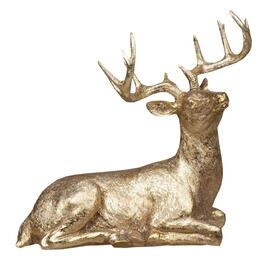 "14"" Gold Polyresin Laying Deer Figure thumb"