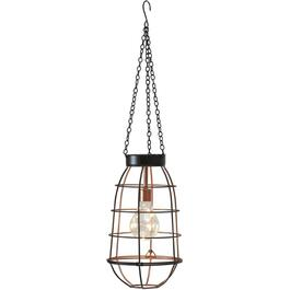 Hanging Battery Operated Copper Cage Pendant Light thumb