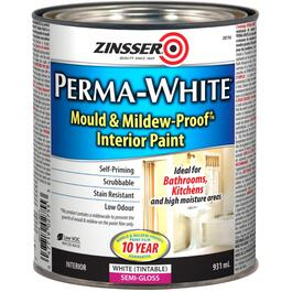 931mL Interior Perma White Wall and Ceiling Semi Gloss Latex Paint thumb