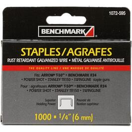 "1000 Pack 1/4"" Staples, for T50 Stapler thumb"