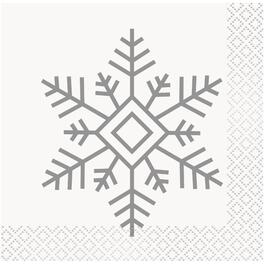 16 Pack Snowflake Paper Cocktail Napkins thumb