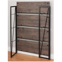 "12"" x 36"" x 50"" Folding 4 Shelf  Espresso Metal and Wood Shelving Unit thumb"