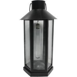 "14"" Black Metal and Glass Lantern, with Battery Operated Edison Bulb thumb"