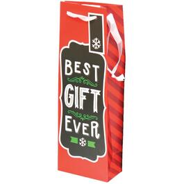 Paper Christmas Gift Bag, for Wine Bottle, with Assorted Words and Designs thumb