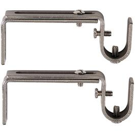 "2 Pack 3.5"" - 5.5"" Adjustable Satin Nickel Curtain Rod Bracket thumb"