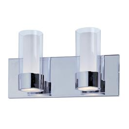 Martigny 2 Light Chrome Vanity Light Fixture with Frosted and Clear Glass Shades thumb