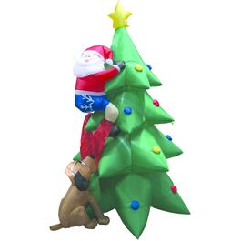 6.5' Tree Outdoor Airblown Inflatable Figure, with Santa thumb
