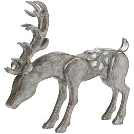 "7.4"" Galvanized Metal Feeding Deer Figure thumb"