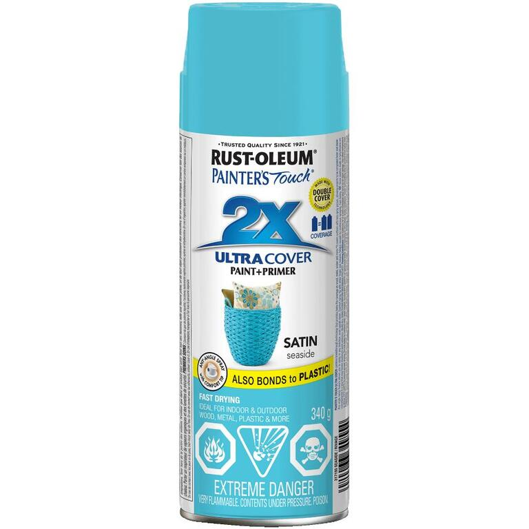 RUST-OLEUM:340g Painters Touch 2X Satin Seaside Blue Alkyd Spray Paint