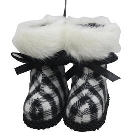 "3"" Black and White Plaid Boot Ornament thumb"