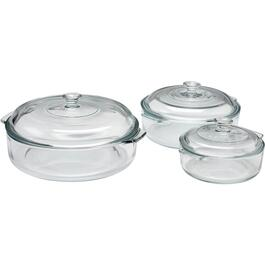 6 Piece Glass Casserole Dish Set, with Cover thumb