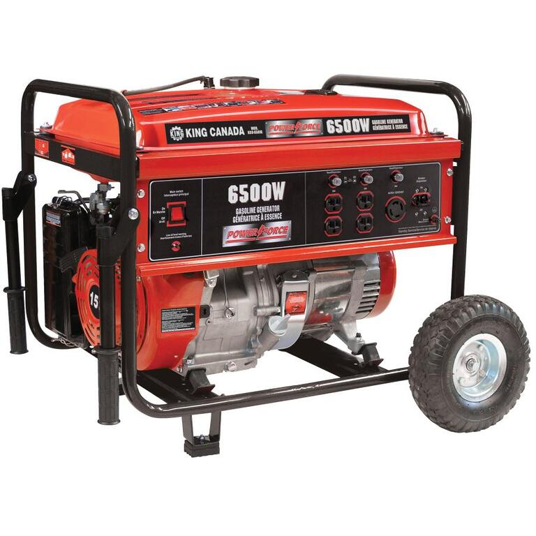 KING CANADA 6,500 Watt 15HP Portable Gas Generator, with Recoil Start